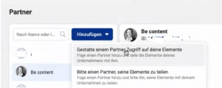 Hinzufügen von Partner im Facebook Business Manager