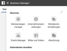 Unterrnehmenseinstellungen des Business Managers